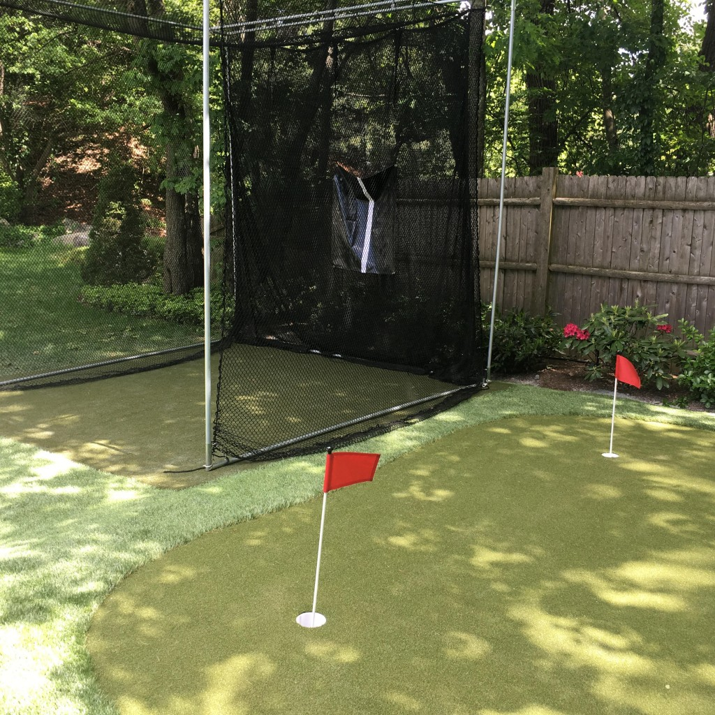 backyard putting green and red flags