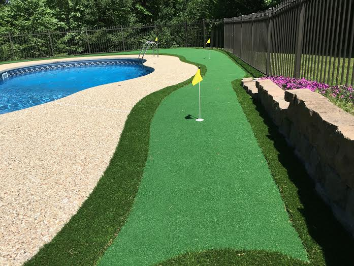 synthetic turf near the pool