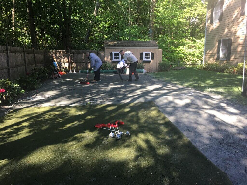 installing waterless grass