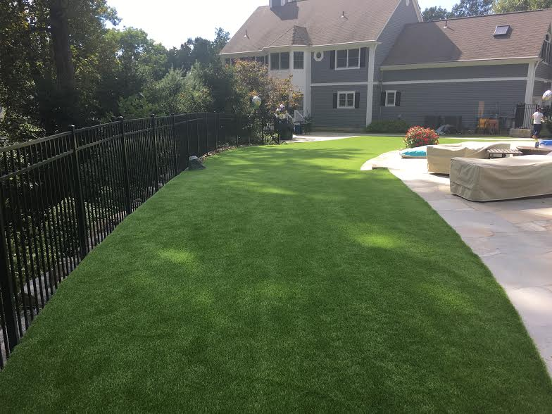 Back yard synthetic grass Southboro MA