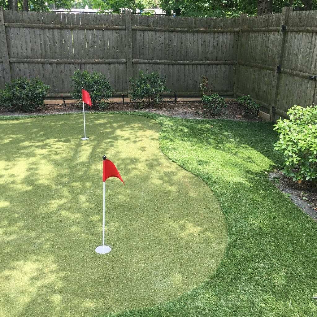 outdoor putting green in backyard