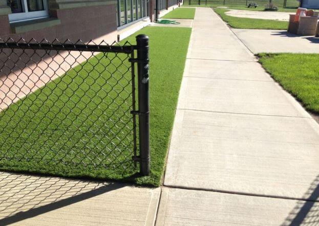 walkway with synthetic grass