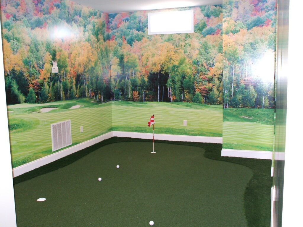 forest wallpaper, indoor putting green