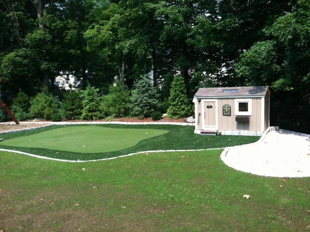 backyard shed & synthetic turf