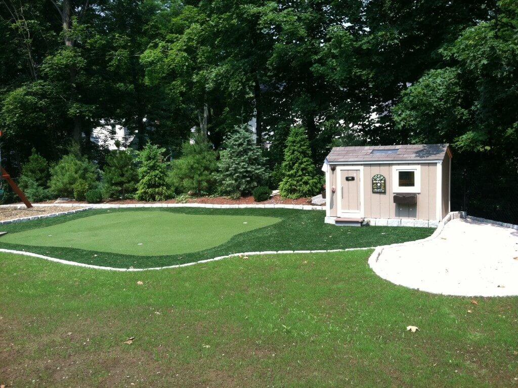 backyard shed & synthetic turf